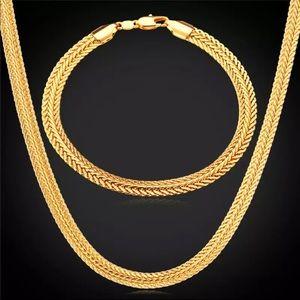 New 18K gold foxtail necklace/ bracelet set